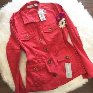 🆕 NWT Chico's Coral Red Jean Jacket Size 4 Small